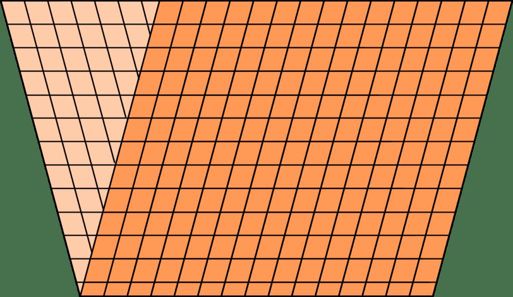 Diagramm gefalteter Stoff mit verzogenem Fadenlauf