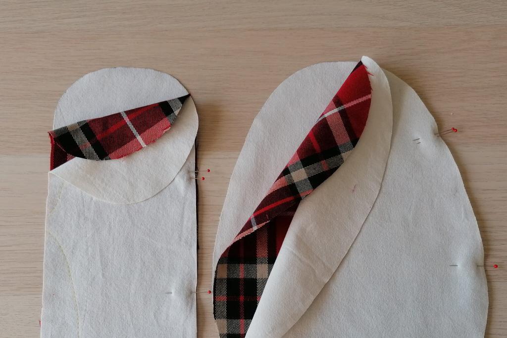 Stofflagen rechts auf rechts zusammenlegen